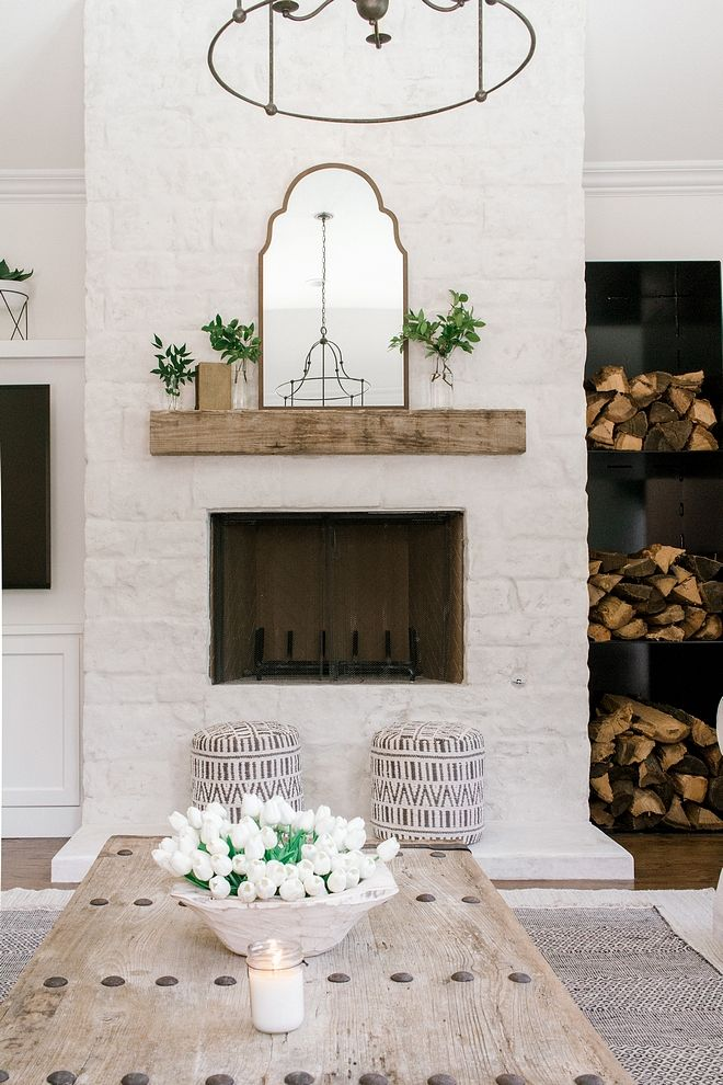 Fireplace With German Smear Method How To The Designer Used Austin Stone With White Mortar Added Using The Home Decor Farm House Living Room Living Room Reveal