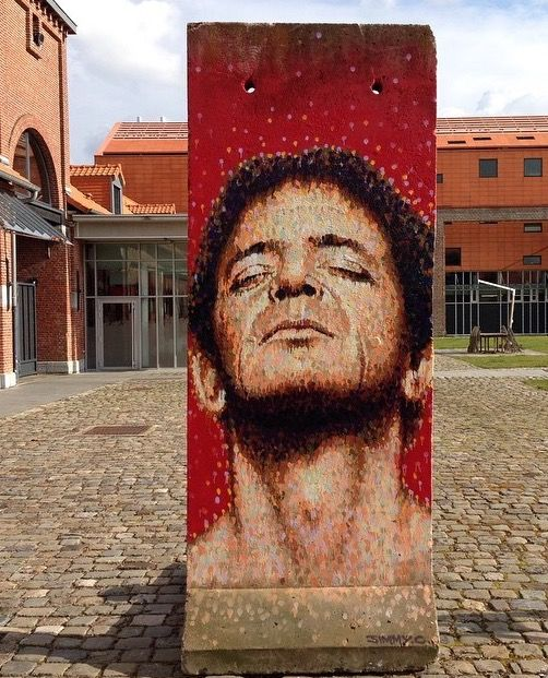 Lou Reed by JimmyC on piece of Berlin Wall in Lille, FR, 3/16 (LP)