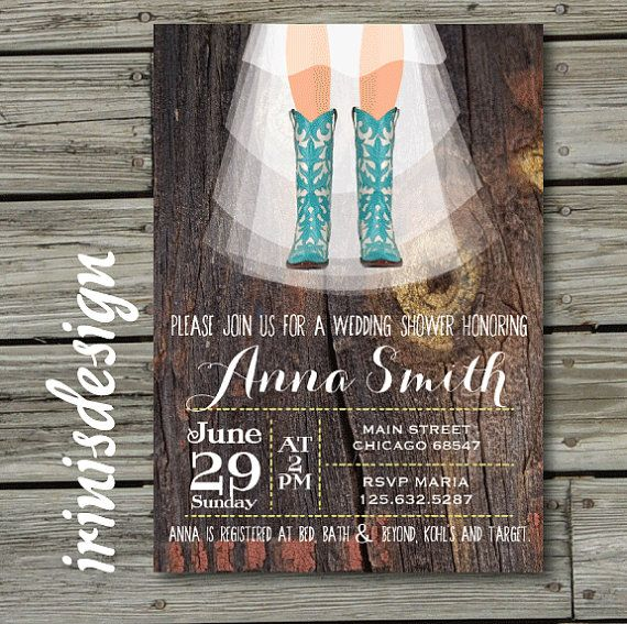 rustic western country cowboy boots shabby turquoise chic hoedown fall bridal showerwedding baby invitation invite printable b52