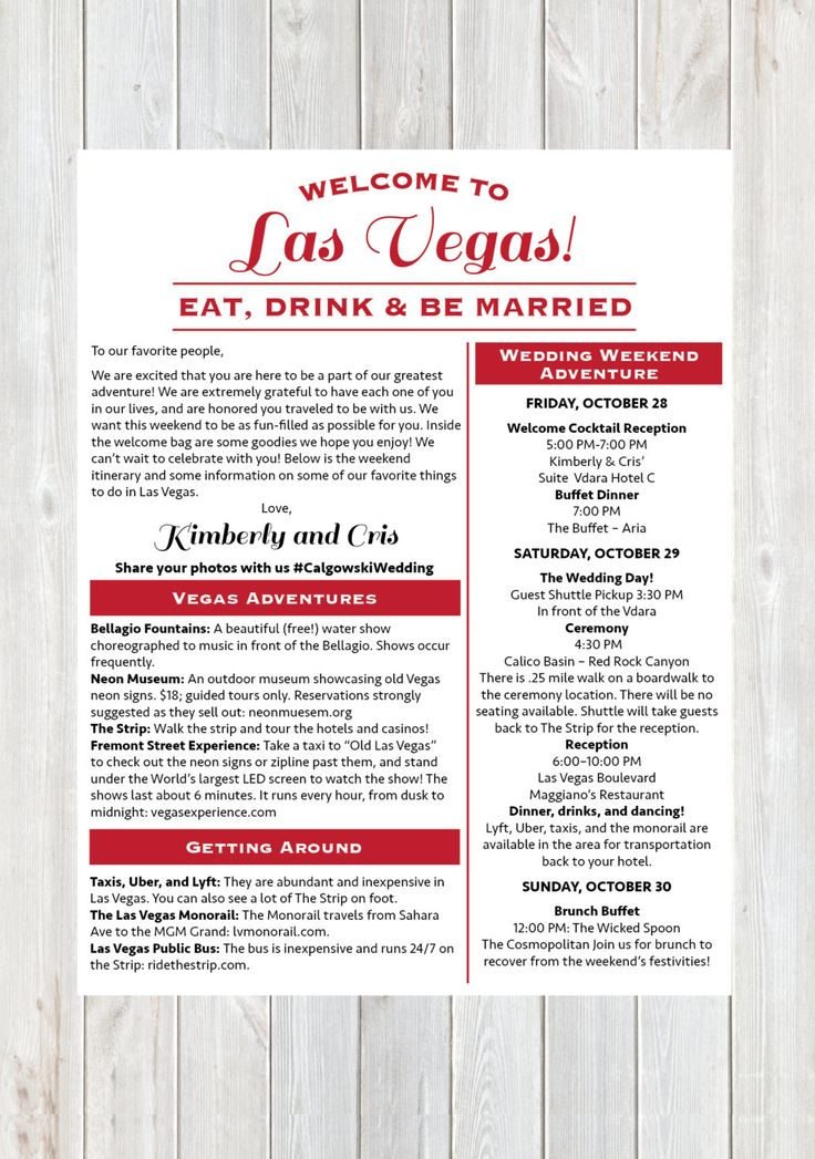 Welcome Letter Wedding Welcome Letter Las Vegas by DesignandPop