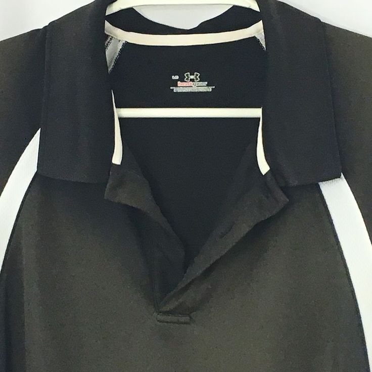 Under Armour HeatGear Polo Shirt Large Brown Black White Short Sleeve  #Underarmour #PoloRugby
