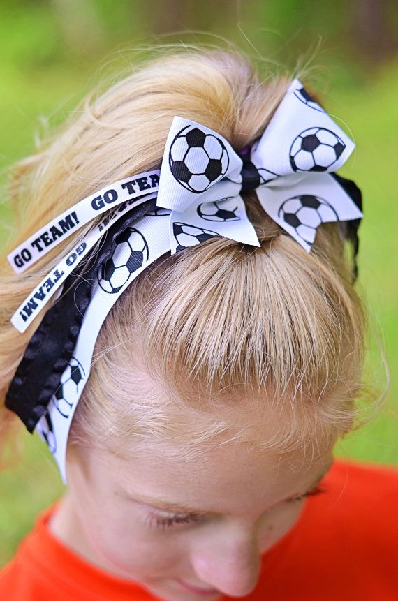 Soccer Spirit Hair Bow Soccer Hairbow Cheer Bow by SportyCuties