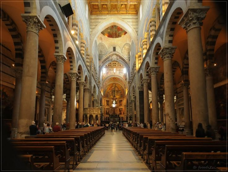 ROMANESQUE ARCHITECTURE Italy Interior Of Cathedral Of Pisa Begun
