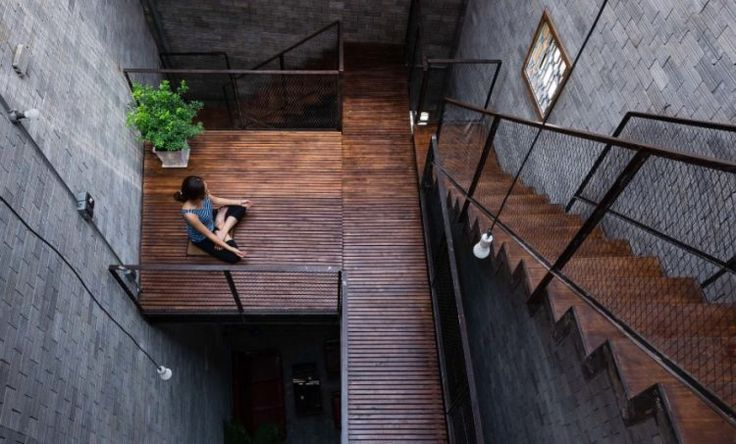 amazing wooden staircase with meditation platform