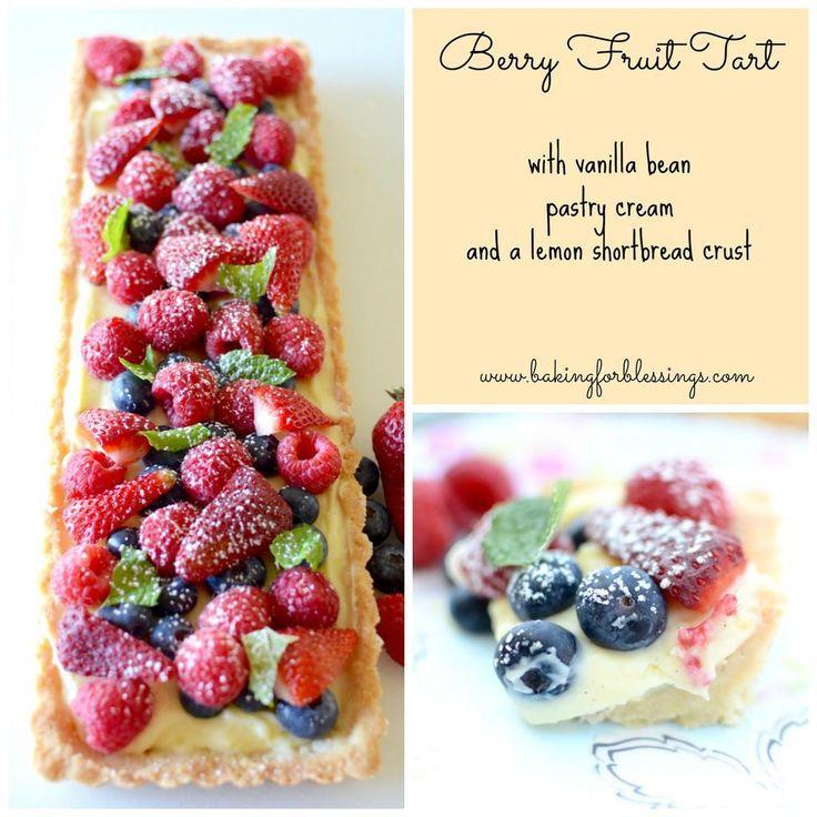 Berry Fruit Tart with vanilla bean pastry cream and a lemon shortbread crust.