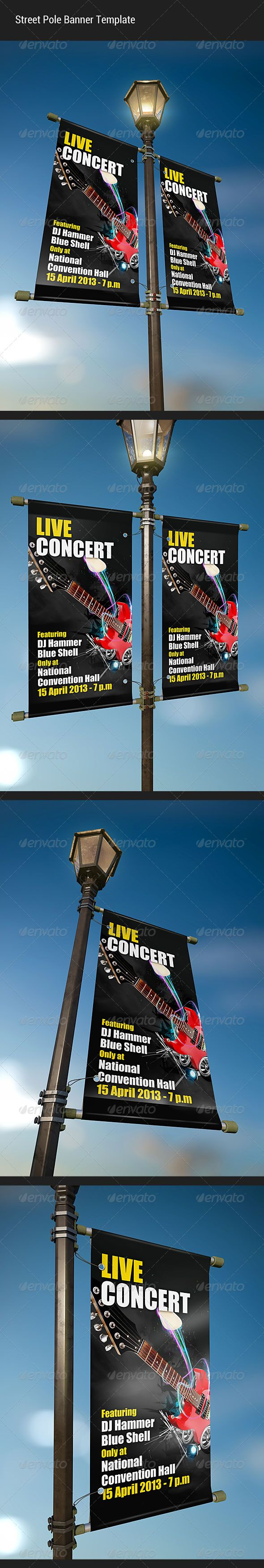 Street Pole Banner Mockup — Photoshop PSD #blue #sky • Available here → https://graphicriver.net/item/street-pole-banner-mockup/4548609?ref=pxcr