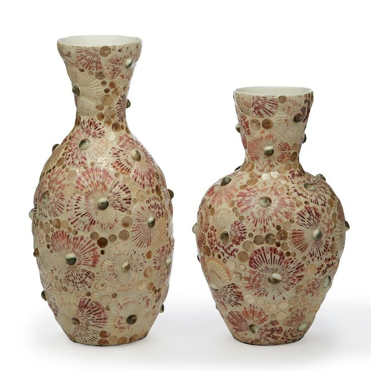 Passport Collection Mosaic Shell Mother of Pearl Vase - Set of 2 - CAL101-S2