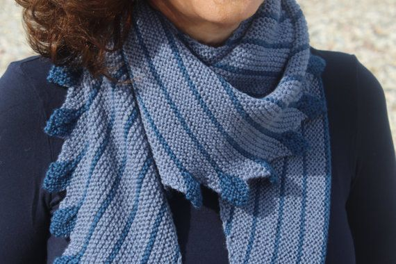 HandKnit Two Tone Denim Blue Shawl   Hand Knit by ManibusFacta