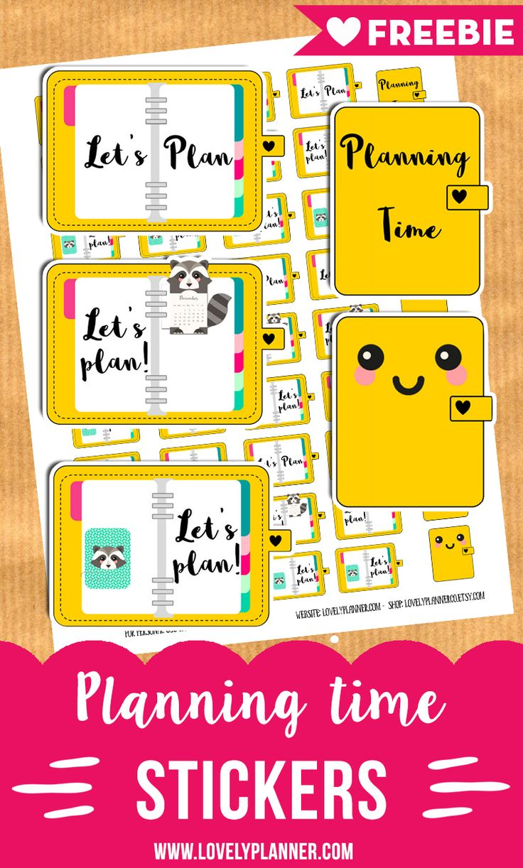 Free 44 planning time printable stickers for your planner: 5 different stickers designs! Free Printable planner stickers. More planner freebies on lovelyplanner.com