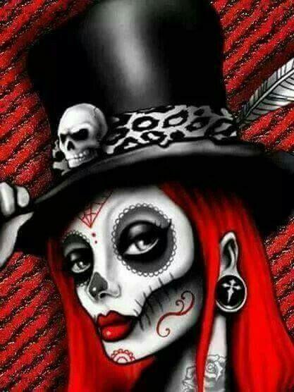 Catrinaaa Mad Hatter Sugar Skull Girl Skelet Tekeningen