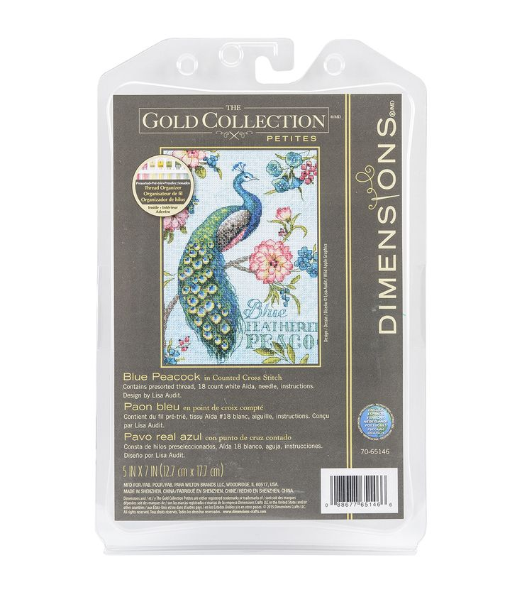 Dimensions® Gold Petite Counted Cross Stitch Kit-Blue Peacock