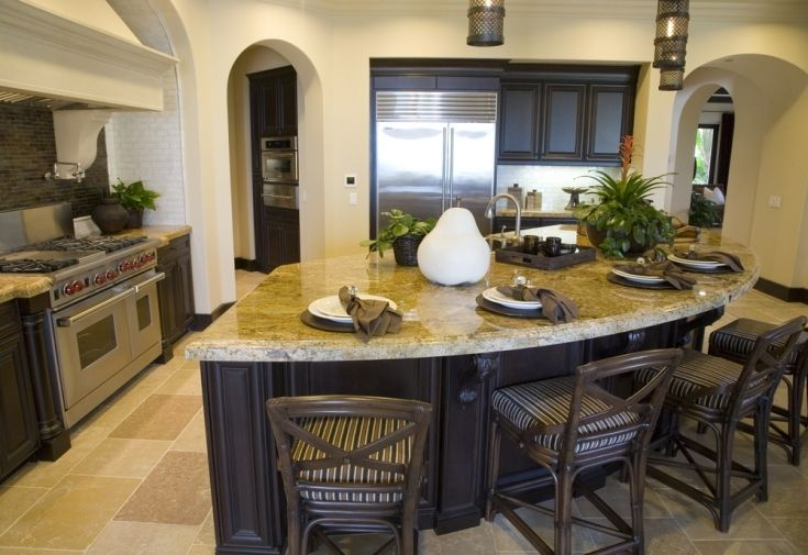 inspiring curved kitchen island with seating  kitchen