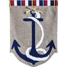 Burlap Anchor Garden Flag