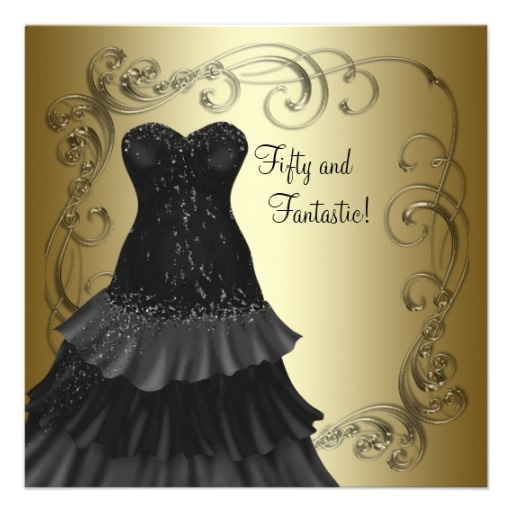 Black Dress Black Gold Womans 50th Birthday Party Card
