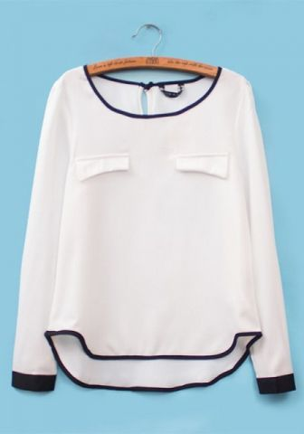 White Chiffon Round Neck Long Sleeve Plain Tops