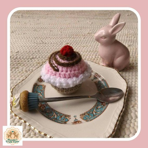 This crochet cupcake is the perfect pretend play item for your little girl.  Perfect for a kids gift.  Crochet Cupcake Fake Cupcake Faux Cupcake Children's