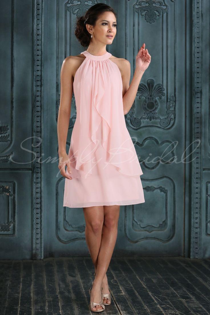 #85259 - Knee Length Sleeveless Sheath Chiffon Dress - Bridesmaid Dress - Simply Bridal