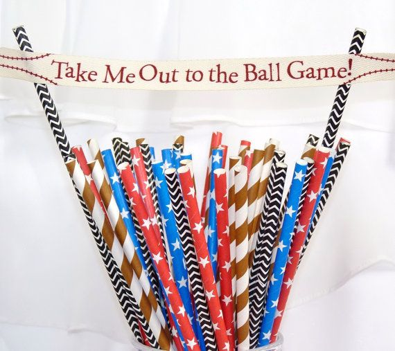 BaseBall Gameday Paper Straws/ 80 Referee Black Chevron, Ball Glove Brown stripe and All American Blue