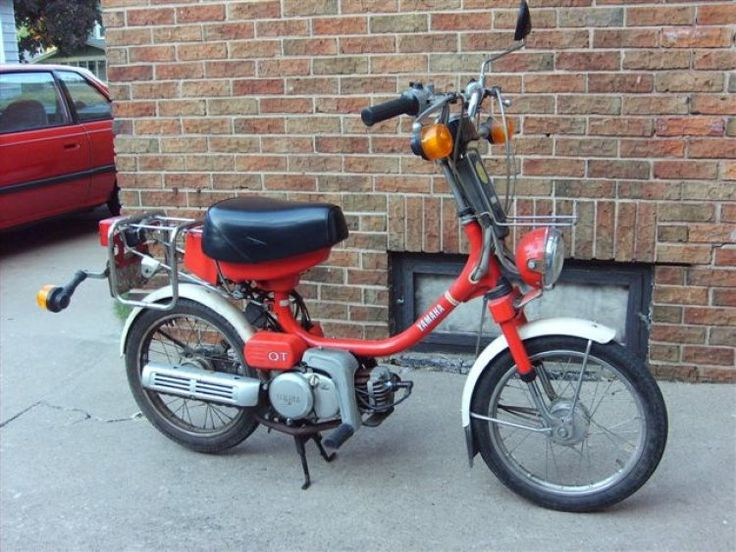 My first two-wheeled transport: 1981 Yamaha QT50 Moped. Top Speed = 25 miles per hour.