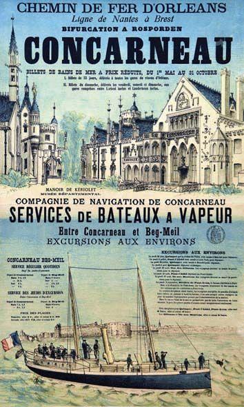 chemins de fer d'orléans - Concarneau - Ligne de Nantes à Brest - service de bateaux à vapeur -