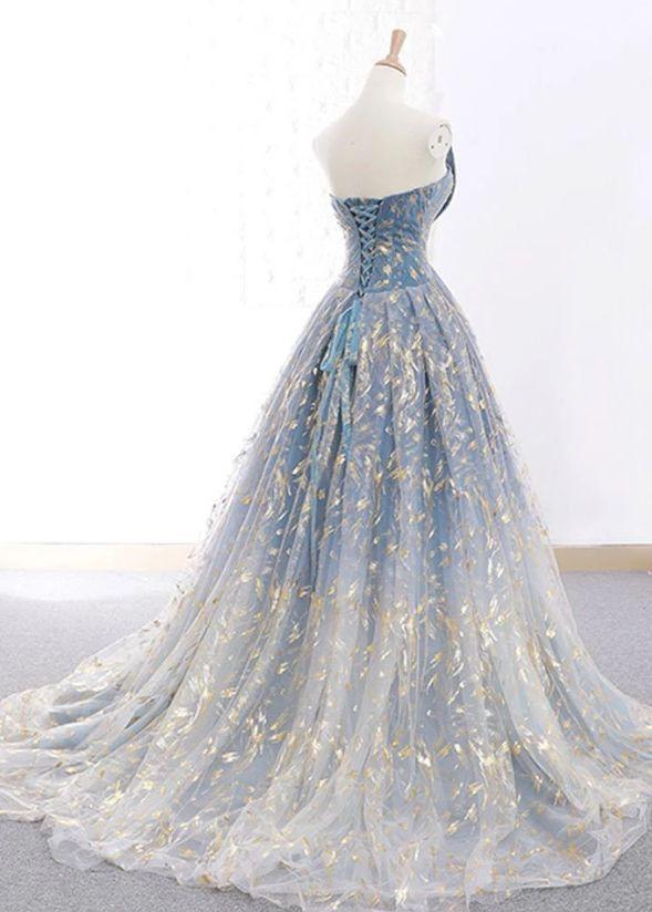 Chic A-line Strapless Lace Prom Dresses Unique Long Prom Dress Evening Dresses