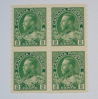 Stamp Pickers Canada 1924 KGV Admiral Coil 4-block Scott #128a MNH VF $120+