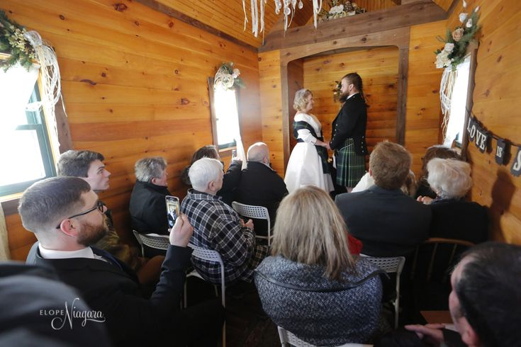 Charming, cozy, quaint, unique, fun, warm, intimate and...it smells great in here! Just some of the words we hear when people enter our little log wedding chapel.