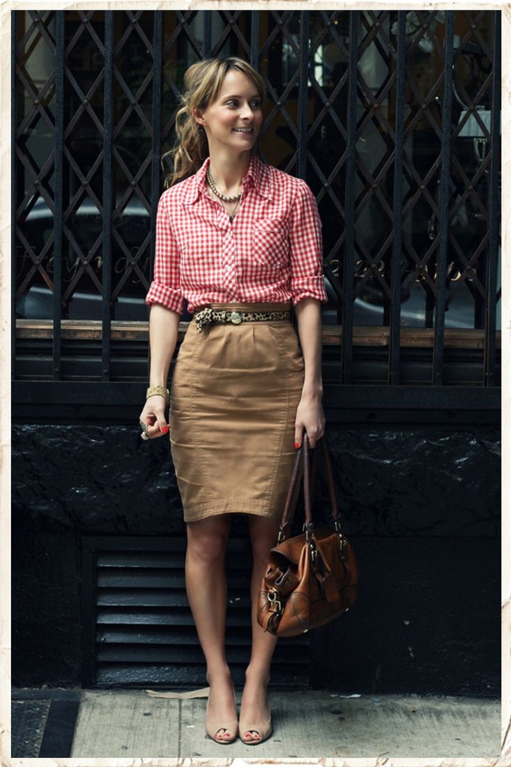 this outfit is cool from head to toe. Gingham button down in a cool color, safari high waisted skirt with belt and neutral everyday peep-toe shoes. Layers of jewelry. Super super comfortable...effortless