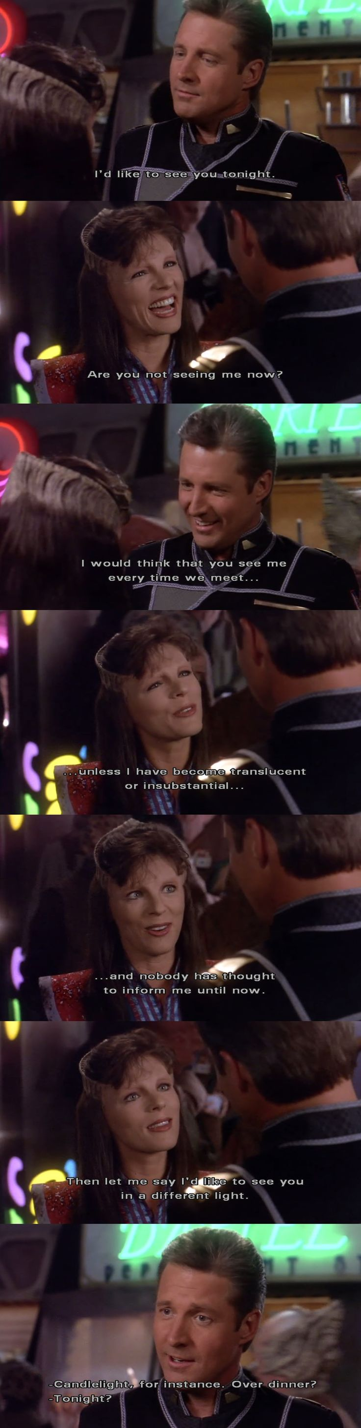 one of my favorite Delenn/Sheridan moments. Babylon 5 rewatch 3x12 - interspecies flirting is so cute :)