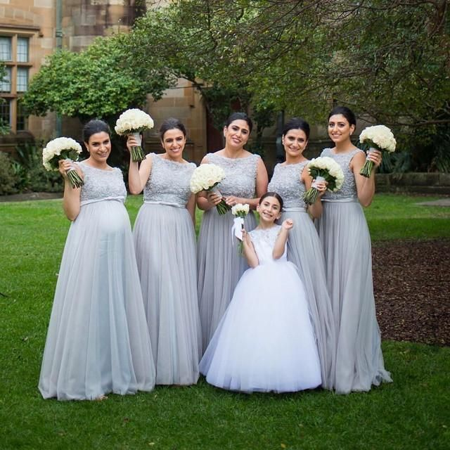 Silver Grey Tulle Long Bridesmaid Dress 2016 Lace Beaded Top Backless Sash Floor Length Long Plus Size Maid Of Honor Girls Dresses Gowns From Enjoyweddinglife, $87.44| Dhgate.Com
