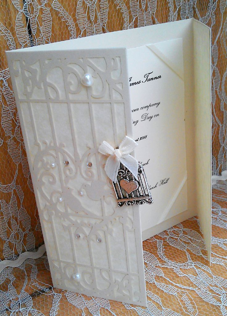 birdcage wedding invitation template%0A Vintage Ivory bird cage wedding invitation with silver bird cage and heart