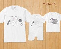【親子でおそろい!】仲良し猫家族ロンパース・Tシャツ(メンズ・レディース)親子おそろいTシャツ