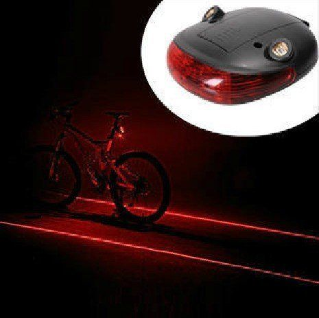 Cycling Bicycle Bike Beam Rear Tail Safety Caution Led Laser Flashing Warning Lamp Light . $10.00. This little laser beam tail light will ensure your safety while riding in the darkness. It has 3 LEDs and 2 laser bulbs. The LED and the laser work independently.. It is powered by two AAA batteries (included). The working time depends on the batteries employed: with two 900 mAh batteries it can generate laser beam for 8 to 9 hours.. There are three modes of the LE...