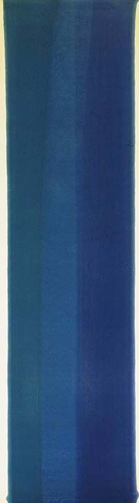 'Blue Column' (1960) by American painter Morris Louis (1912-1962). Acrylic on canvas, 80 x 22 in. via the Phillips Collection