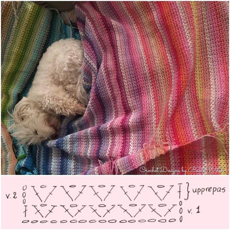 Randig filt i V-stitch