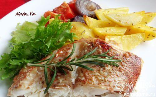 Запеченный морской окунь по-дачному | Кулинарные рецепты от «Едим дома!»