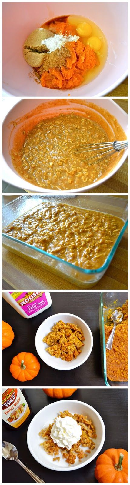 Baked pumpkin pie oatmeal. This was delicious and easy to make! I had to bake it 20 minutes longer than it said though, because the middle was still mushy.