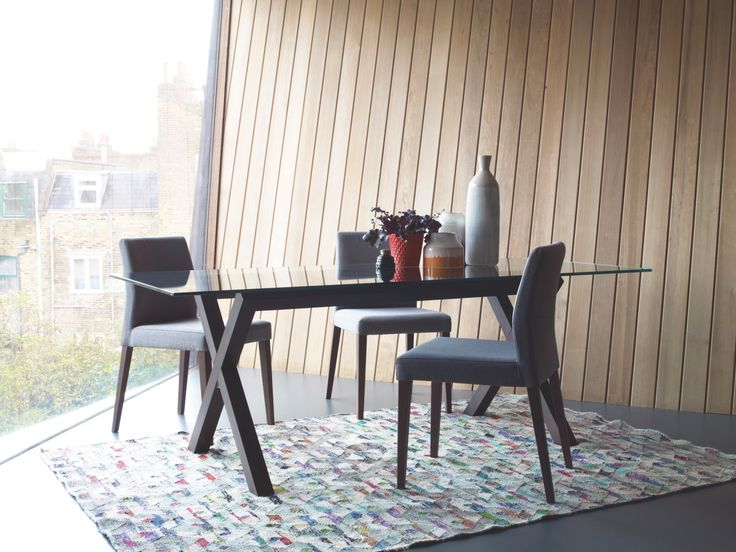 DUBLIN 4 Seater Walnut Stain And Glass Dining Table