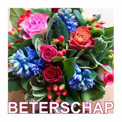 Een bloemetje voor de zieke! Beautiful flowers for the patient. Text can be changed within most cards. Kaartje2go - Creagaat