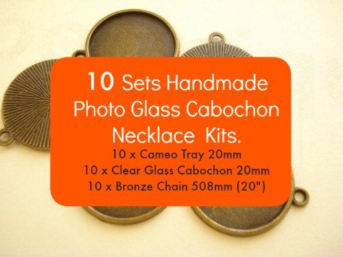 10Sets Handmade Photo Glass Cabochon Necklace Kits B-1003K by yooounique on Etsy #craft #handmade #kit #necklace #cabochon #gift #nice