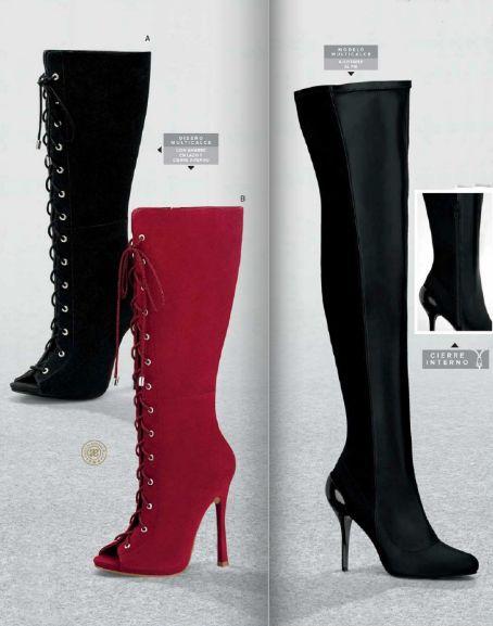 Botas Andrea 2016. Botas de tubo largo, botas de tacon aguja, botas con amarre de agujetas, botas color negro o rojo