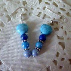 Bijoux fantaisie: boucles d'oreille dégradé de bleus et coeur bleu@laboutiquedenath