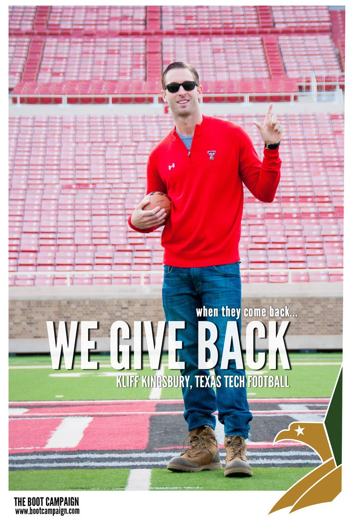 It's #CollegeFootball week here at Boot Campaign and we're honored to share with you our Celebrity Supporter of the week! It's Texas Tech University's head football coach, Coach Kliff Kingsbury! Kliff was so excited to get his BOOTS on in 2013 in honor of his father Tim Kingsbury. Tim is a retired Marine Corps veteran and purple heart recipient who fought for our FREEDOM in Vietnam. Huge THANKS to Kliff for getting his BOOTS on!