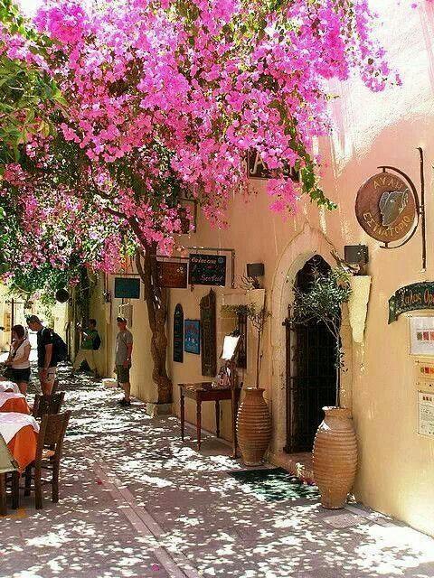 Blossoming street in Rethymnon, Crete