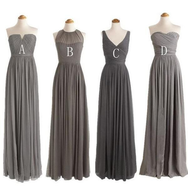 Grey Cheap Simple Mismatched Styles Chiffon Floor-Length Formal Long Bridesmaid Dresses, WG188