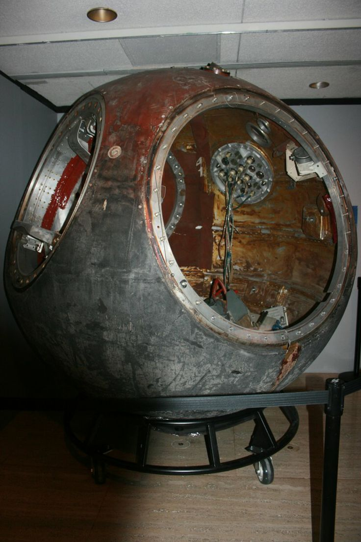 Vostok 1 - First manned spacecraft. Looks old school. More tailored to deep sea diving than outer space. How strange the difference in now and then.