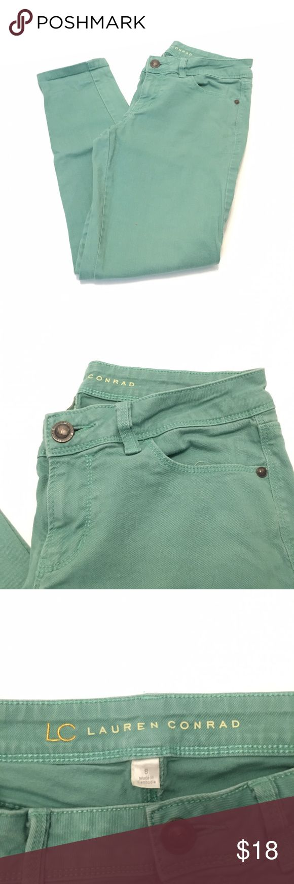 LC LAUREN CONRAD 🗽 MINT GREEN DENIM CAPRIS Adorable! Looking for the perfect pop of color to pair with any kind of top? These pants are an excellent decision. Their light mint color, cropped length and super cute construction make them a neutral but fun way to jazz up an outfit. Size 8 and in great condition. LC Lauren Conrad Pants Ankle & Cropped