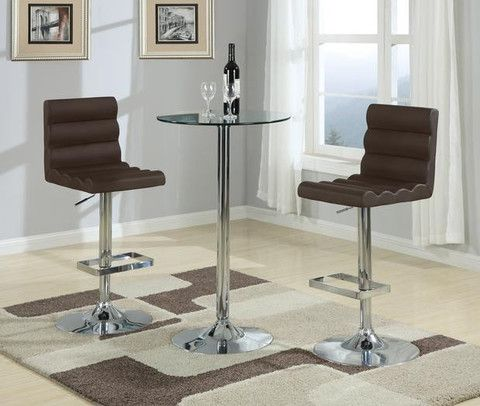 "Boyer Bar Stool  Features:  Black PU Leather Chrome Adjustable Base 21"" x 17"" x 34"""