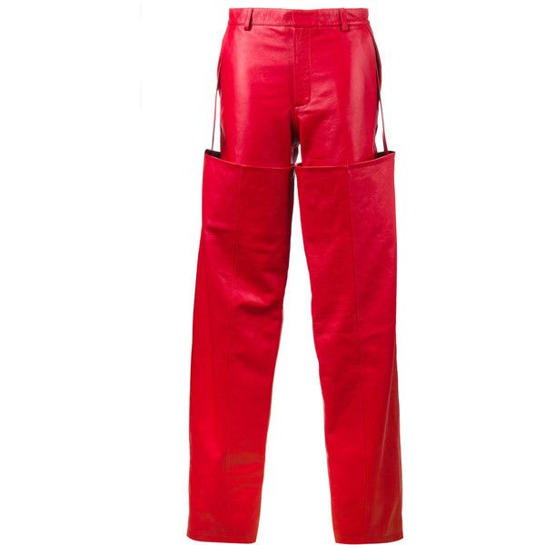 Y / Project high-waisted Leather Trousers with Detachable Chaps ($2,449) ❤ liked on Polyvore featuring pants, red, leather trousers, high-waist trousers, red high waisted pants, high-waisted trousers and red trousers