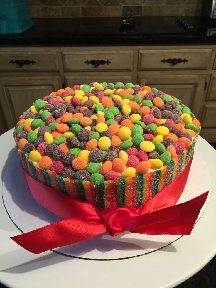 Sour skittles cake. With extreme airheads as boarder.  Easy and fun , kids loved jt.